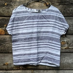 Artisan NY Striped 100% Linen Boxy Oversized Top
